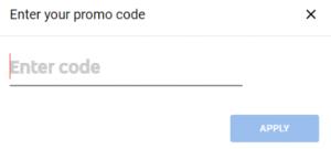 enter promo code box